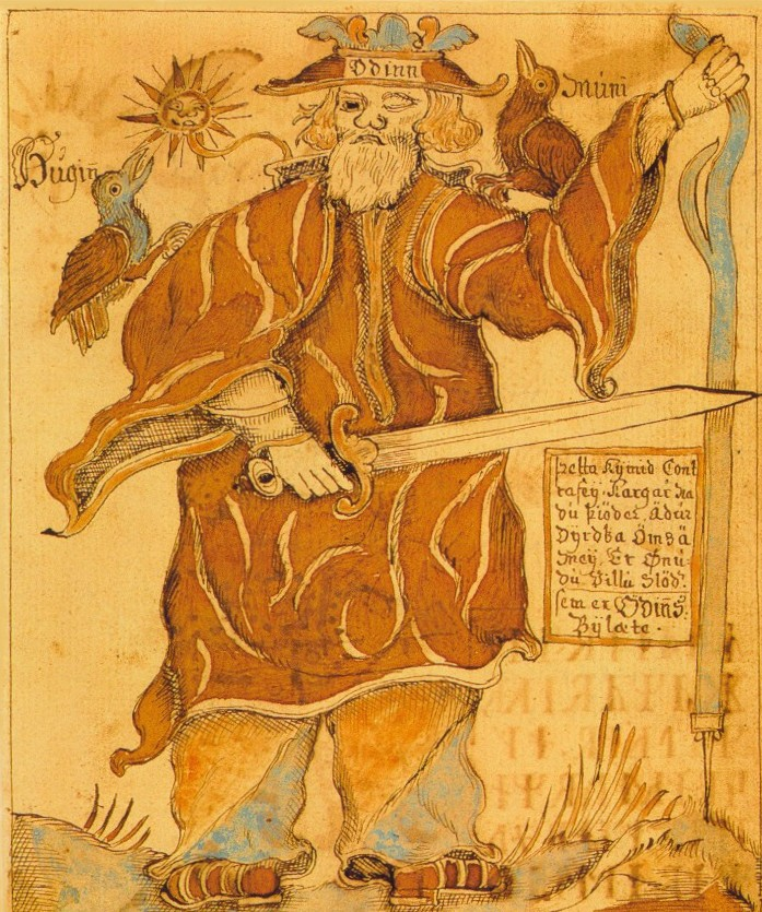 Ancient Icelandic Manuscript depicting Odin